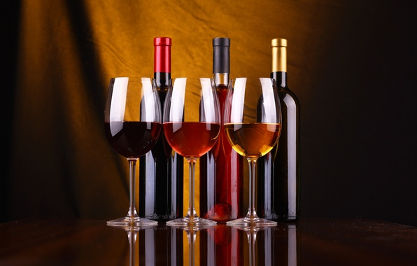 Photo wallpaper Wine, glasses, three, wine, Stemware