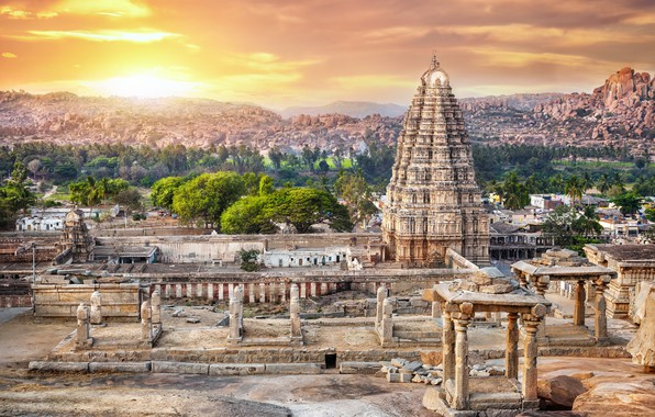 Picture landscape, India, temple, antiquity