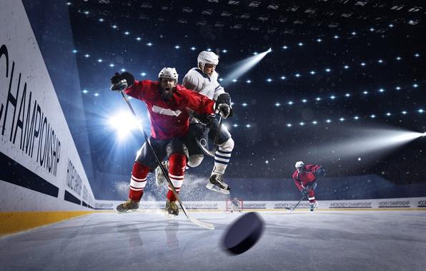 Picture Sport, Uniform, Men, Hockey, The Rays Of Light, Rink
