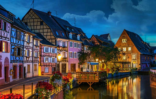 Photo wallpaper flowers, river, France, building, home, the evening, promenade, France, Colmar, Colmar, Little Venice, Launch River