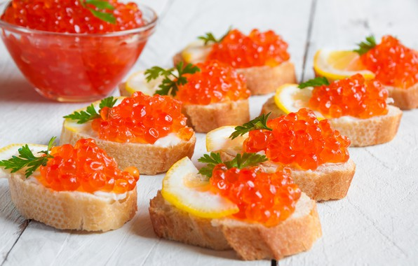 Picture lemon, bread, caviar, seafood, sandwiches