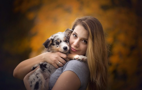 Picture girl, dog, puppy