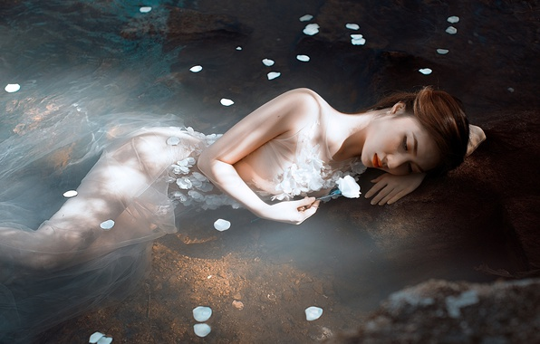 Picture flower, water, girl, mood, petals, Asian