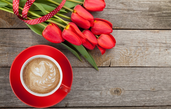 Picture coffee, tulips, red, love, cup, romantic, tulips, valentine's day, coffee