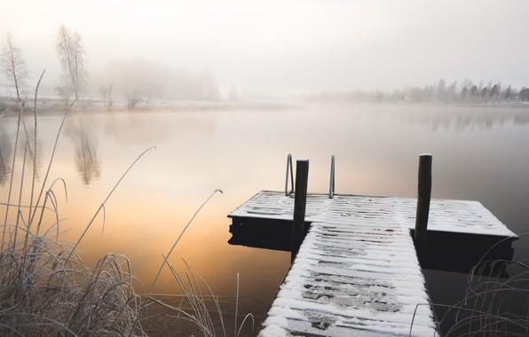 Picture winter, bridge, fog, lake