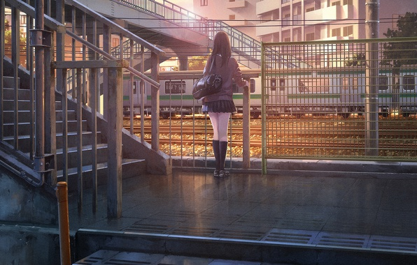 Picture girl, bridge, the city, sunrise, the fence, building, train, skirt, morning, ladder, bag, knee, school …