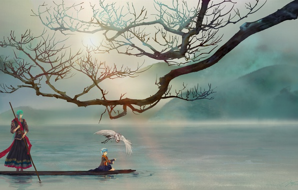 Picture mountains, river, bird, boy, male, tree