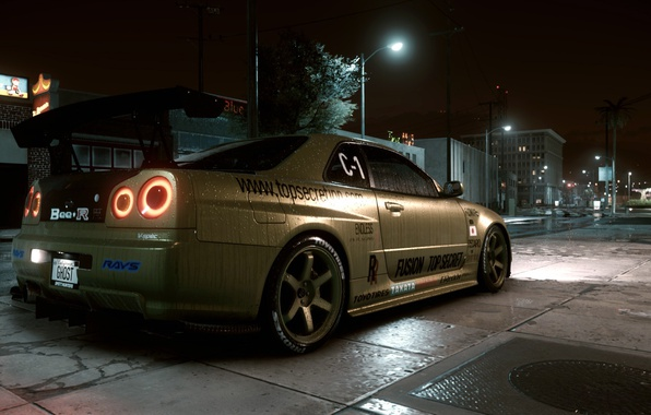 Picture street, Nissan skyline, night city, Need for Speed 2015, GTR R34, top secret copy