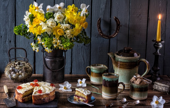 Picture flowers, coffee, candle, eggs, bouquet, kettle, cake, sugar, mugs, still life, daffodils, spoon, horseshoe