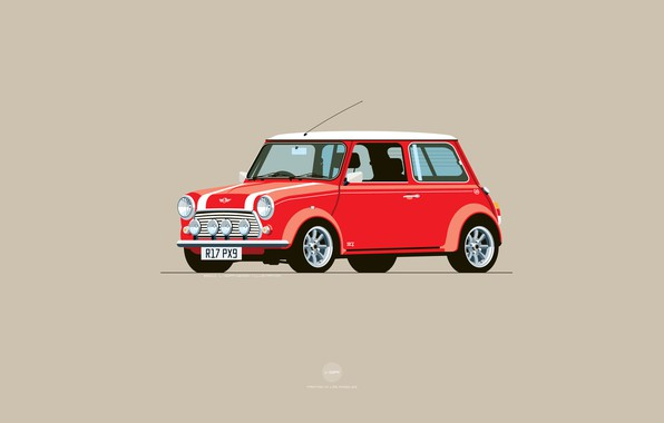Photo wallpaper Red, Auto, Mini, Cooper, Minimalism, Figure, Machine, Mini Cooper, Art, Mini, Nik Schulz, R17PX9, R17-PX9, ...