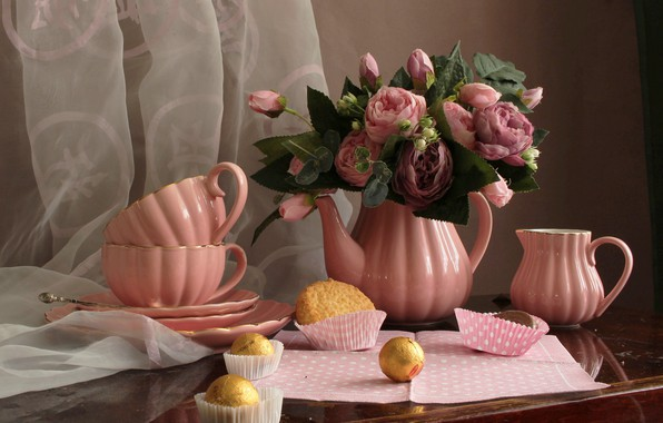 Picture flowers, roses, kettle, cookies, candy, the tea party, Cup, plates, still life, table, curtain, napkin, …