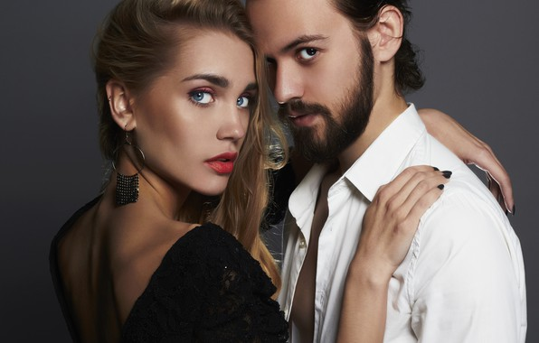 Picture look, girl, decoration, love, background, makeup, dress, hairstyle, pair, white, male, shirt, brown hair, beard, ...