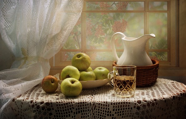 Picture table, apples, window, juice, plate, mug, pitcher, still life, wet, curtain, tablecloth