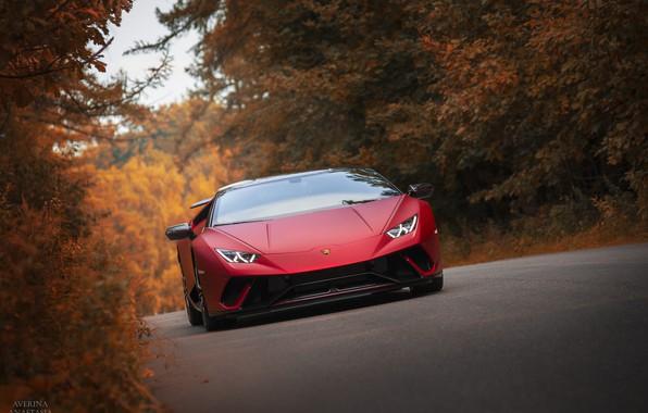 Photo wallpaper RED, Huracan, Lamborghini, autumn