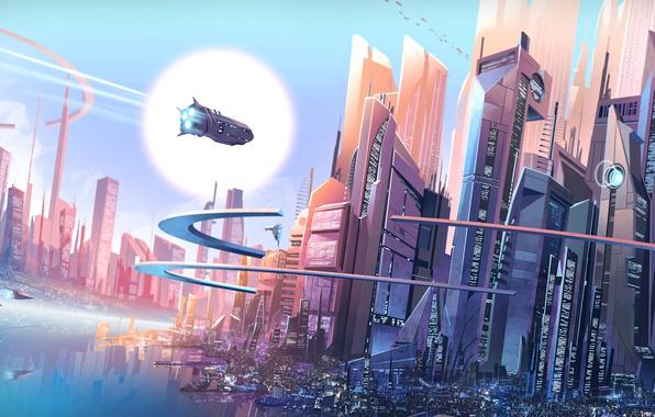 Picture future, City, fantasy, digital art, buildings, spaceships, artwork, skyscrapers, fantasy art, cityscape, futuristic city, François …