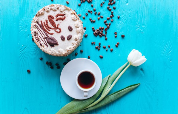Picture coffee, grain, bouquet, Cup, tulips, cake, white, white, cake, wood, flowers, cup, tulips, beans, coffee