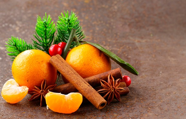 Picture close-up, oranges, cinnamon, slices, bokeh, star anise, pine branches, star anise