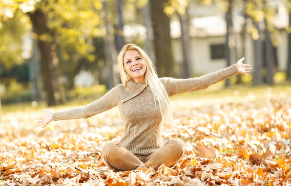 Picture leaves, girl, trees, joy, pose, smile, Park, mood, yellow, makeup, hairstyle, blonde, jacket, sitting, bokeh, …