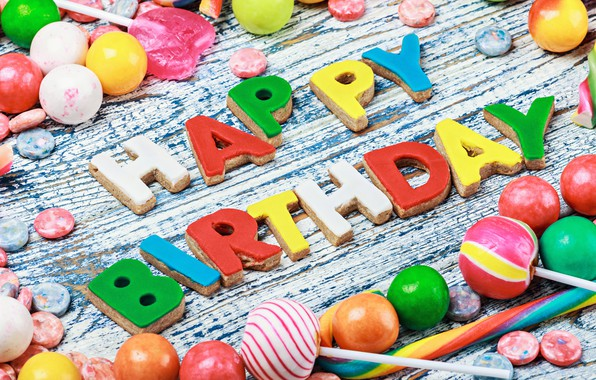 Picture colorful, cookies, candy, sweets, Happy Birthday, colours, celebration, cookies, candy, decoration, Birthday