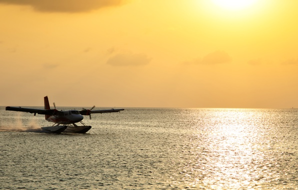 Photo wallpaper the plane, blur, The Maldives, bokeh, passenger, wallpaper., seaplane, seaplane, De Havilland, sun morning ocean, ...