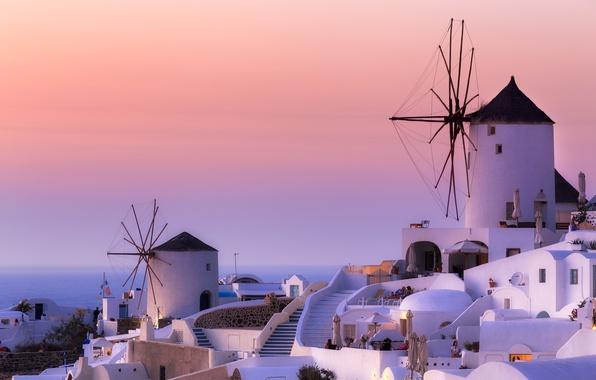 Picture Greece, mill, Santorini, Oia, Greece, Aegean, windmills