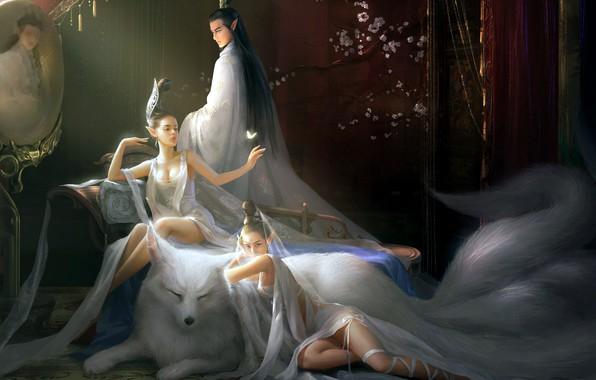 Picture fantasy, cleavage, long hair, girls, breast, dog, butterfly, man, boy, sensual, artwork, armchair, fantasy art, …