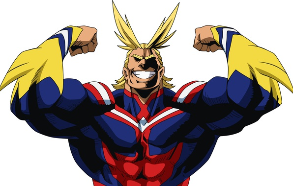Picture smile, anime, blonde, hero, pose, manga, powerful, strong, uniform, yuusha, seifuku, super hero, Boku no ...