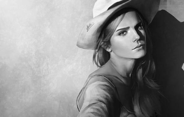 Picture background, figure, portrait, hat, art, black and white, Emma Watson, Emma Watson
