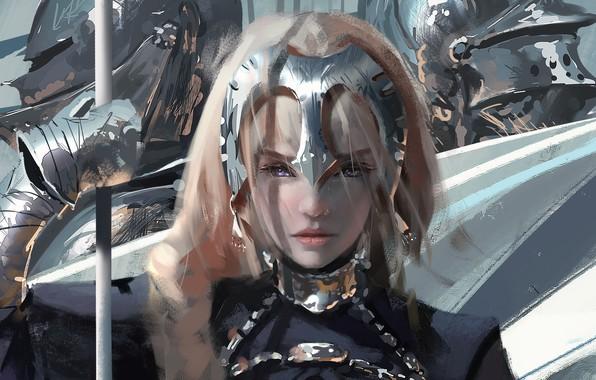 Picture Girl, Figure, Armor, Girl, Eyes, Knights, Anime, Art, Art, Anime, Eyes, Armour, Artist, Fate/Apocrypha, Artist, ...