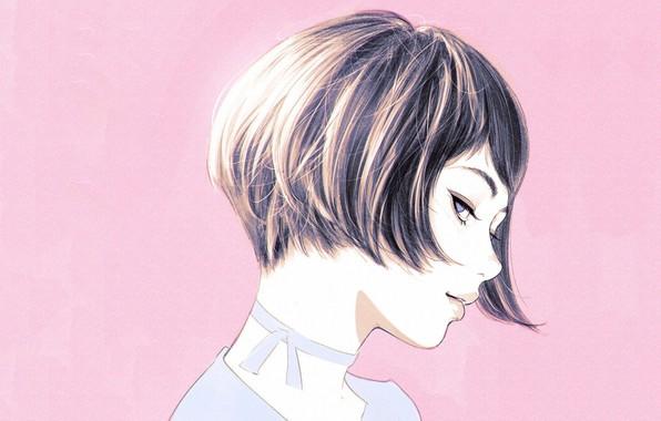 Picture haircut, profile, pink background, bangs, portrait of a girl, Ilya Kuvshinov