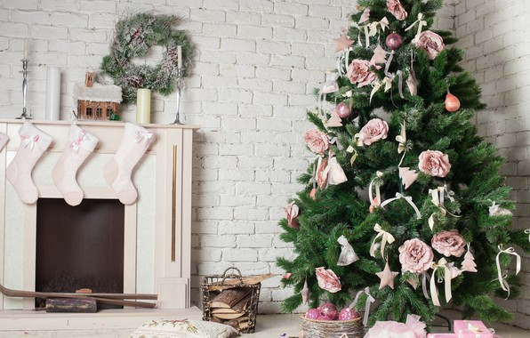 Picture decoration, holiday, tree, candles, New year, fireplace