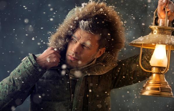 Picture winter, frost, snow, lamp, jacket, hood, lantern, male