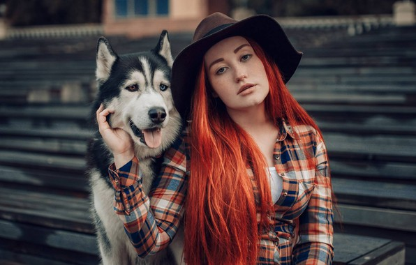 Picture look, girl, dog, hat, red, redhead, long hair, husky, Hakan Erenler, Victoria Belova