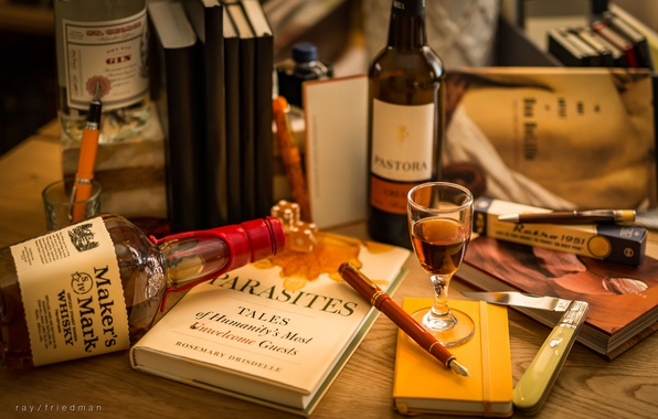 Picture pen, handle, book, bottle, still life, whiskey, glass