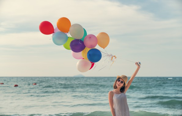Picture sea, beach, summer, girl, the sun, happiness, balloons, stay, colorful, girl, summer, sunshine, happy, beach, …
