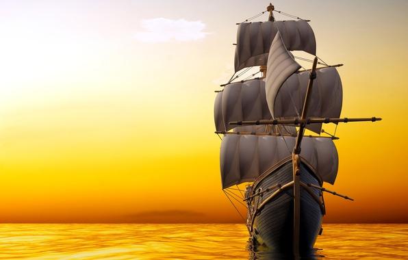 Picture sea, the sky, ship, sailboat, horizon, glow, sails, mast, 3D Graphics