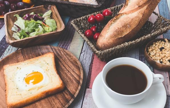 Picture cherry, coffee, Breakfast, bread, scrambled eggs, salad, buns, toast