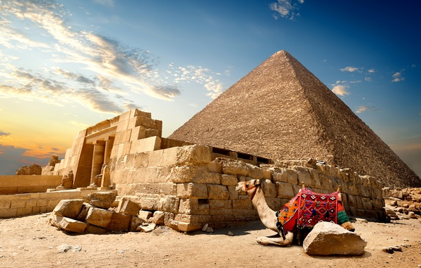 Picture sand, the sky, the sun, clouds, stones, desert, camel, pyramid, Egypt, Cairo