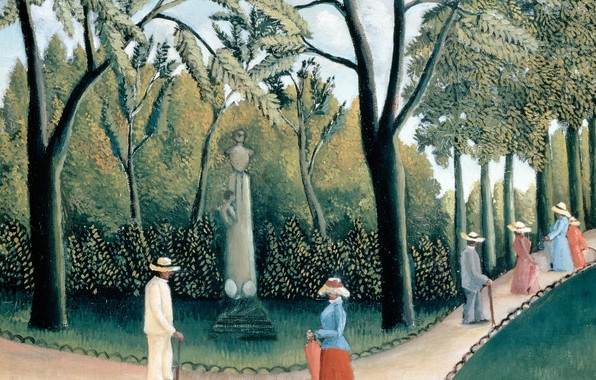 Picture Park, people, picture, walk, Henri Rousseau, The Luxembourg garden. Monument To Chopin