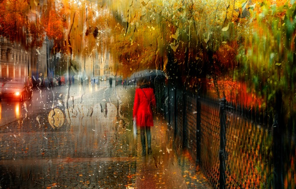 Picture autumn, girl, the city, rain, Saint Petersburg, Russia