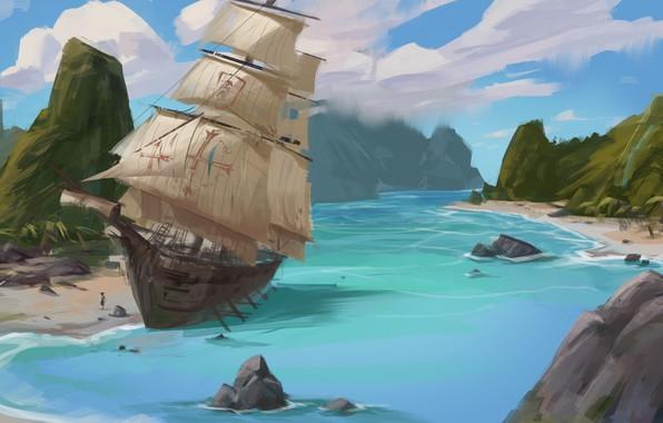 Picture shore, ship, sailboat, Bay, art, brig, practice, jin dongyu