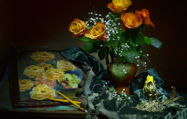 Picture flowers, style, roses, candle, picture, pencils, still life, gypsophila