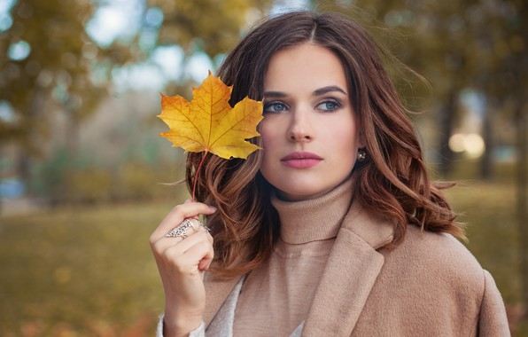 Picture autumn, look, girl, Park, model, makeup, hairstyle, autumn mood, sheet in hand