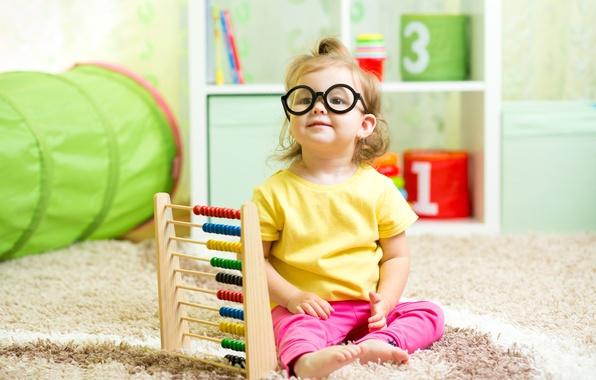 Picture look, carpet, child, glasses, girl, little, child, glance, Sitting, little girls, scores