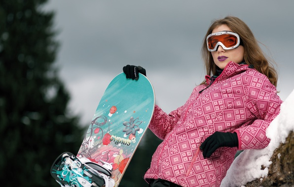 Photo wallpaper winter, look, girl, face, style, hair, Snowboard, glasses
