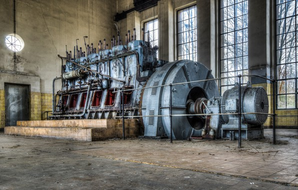 Picture abandoned, pumping station, engine room