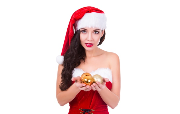 Picture holiday, balls, hat, toys, new year, Christmas, makeup, dress, brunette, hairstyle, white background, maiden, beauty, …