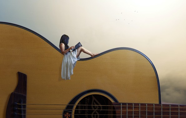 Picture girl, background, guitar