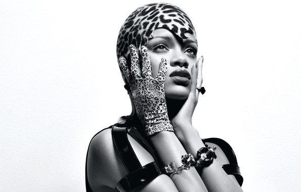Picture decoration, style, makeup, outfit, white background, black and white, singer, Rihanna, glove, cap, straps