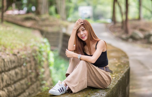 Picture look, smile, hair, Asian, cutie, bokeh